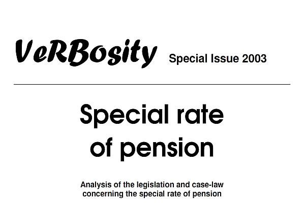 VeRBosity Special Issue 2003 - Special rate of pension
